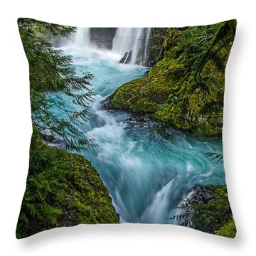 Spirit Falls Blue. Throw Pillow
