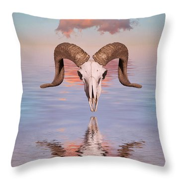 Spirit Goat Throw Pillow by Jerry McElroy