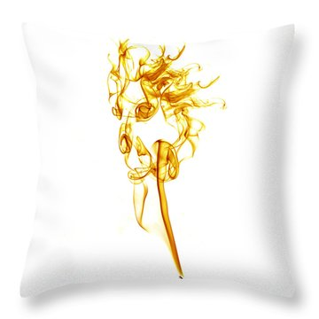 Throw Pillow featuring the photograph Ghostly Smoke - Orange by Nick Bywater