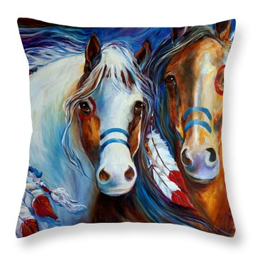 Spirit Indian War Horses Commission Throw Pillow