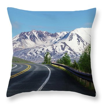 Spirit Lake Highway To Mt. St. Helens Throw Pillow
