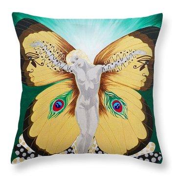 Blaa Kattproduksjoner             Spirit Of Aurelias Flight Throw Pillow