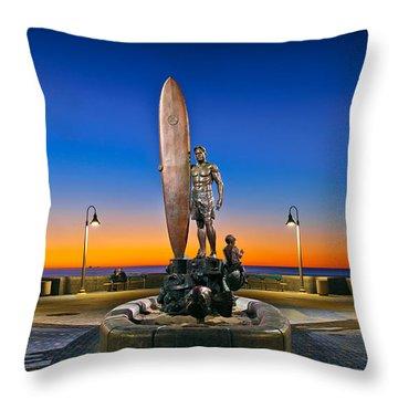 Spirit Of Imperial Beach Surfer Sculpture Throw Pillow