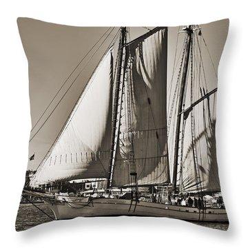 Spirit Of South Carolina Schooner Sailboat Sepia Toned Throw Pillow by Dustin K Ryan
