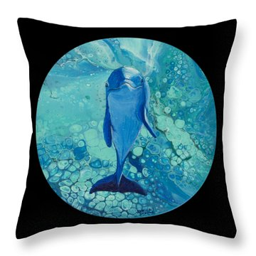 Throw Pillow featuring the painting Spirit Of The Ocean On Black by Darice Machel McGuire