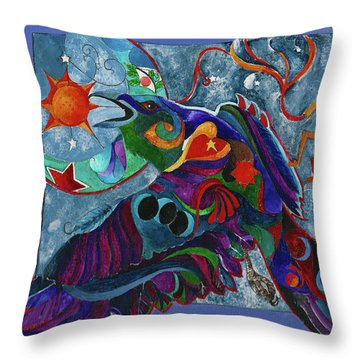 Spirit Raven Totem Throw Pillow