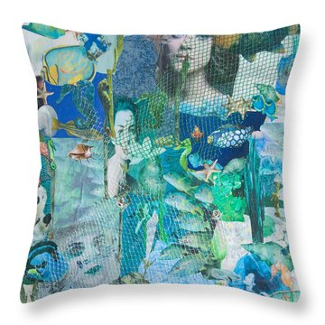 Throw Pillow featuring the mixed media Spirits Of The Sea by Sandy McIntire