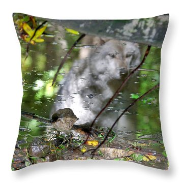 Spirits Of Wolves Throw Pillow by Scott Mahon
