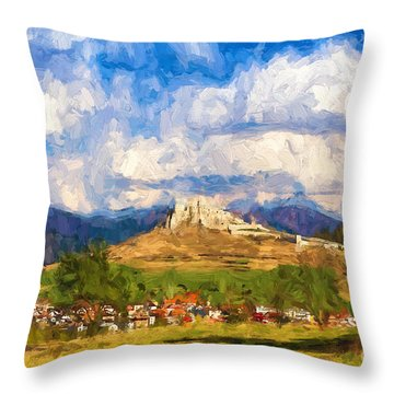 Castle Above The Village Throw Pillow