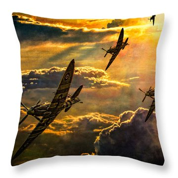 Spitfire Attack Throw Pillow