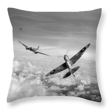 Throw Pillow featuring the photograph Spitfire Attacking Heinkel Bomber Black And White Version by Gary Eason
