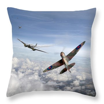 Throw Pillow featuring the photograph Spitfire Attacking Heinkel Bomber by Gary Eason