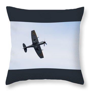 Throw Pillow featuring the photograph Spitfire From Below Sunderland Air Show 2014 by Scott Lyons