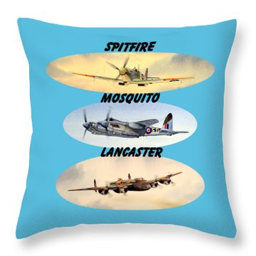 Spitfire Mosquito Lancaster Aircraft With Name Banners Throw Pillow by Bill Holkham