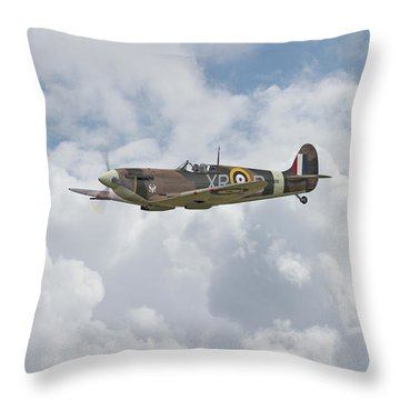 Throw Pillow featuring the digital art  Spitfire - Us Eagle Squadron by Pat Speirs