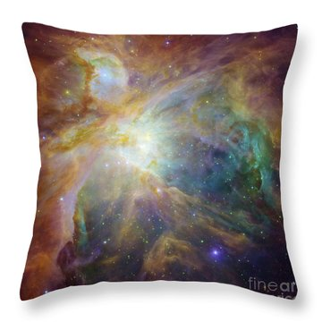 Spitzer And Hubble Create Colorful Masterpiece Throw Pillow