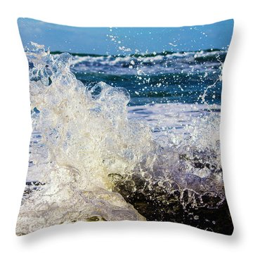 Wave Crash And Splash Throw Pillow