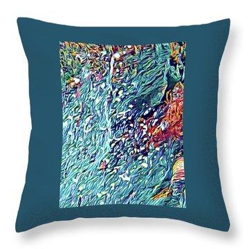Splash Of Blue Ocean In Puna Throw Pillow