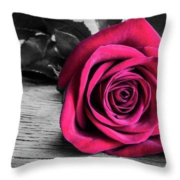 Splash Of Red Rose Throw Pillow