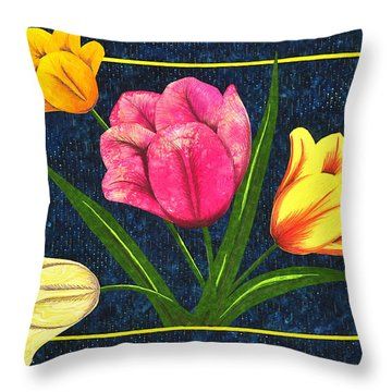 Throw Pillow featuring the tapestry - textile Splash Of Tulips by Jo Baner