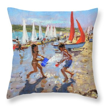Splashing, Abersoch Throw Pillow