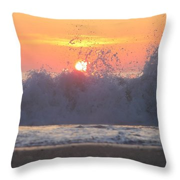 Splashing High Throw Pillow by Robert Banach