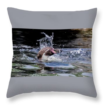 Throw Pillow featuring the photograph Splashing Humboldt Penguin by Scott Lyons