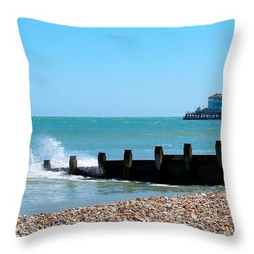 Splashing Waves By The Sea Throw Pillow