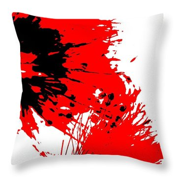 Splatter Black White And Red Series Throw Pillow