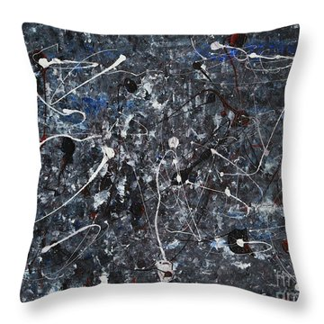 Splattered - Grey Throw Pillow by Jacqueline Athmann