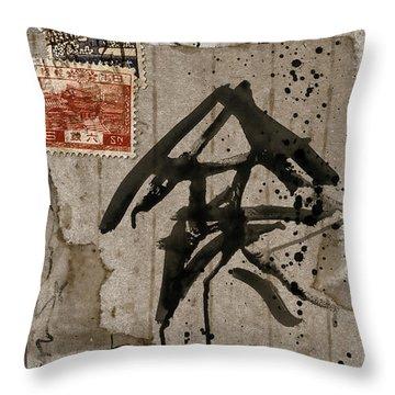 Splattered Ink Postcard Throw Pillow