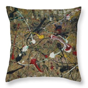 Splattered Throw Pillow by Jacqueline Athmann