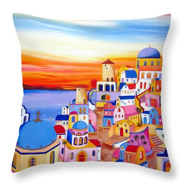 Splendid Santorini Sunset My Way Throw Pillow