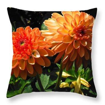 Splendor Of Fall Dahlias  Throw Pillow