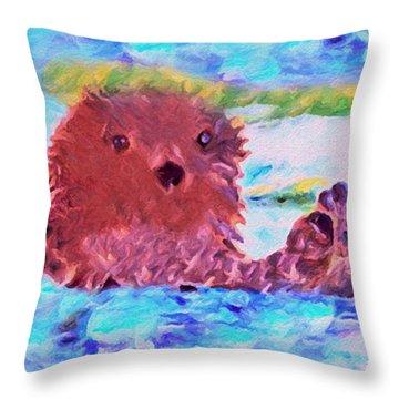 Throw Pillow featuring the painting Splish Splash by David Millenheft