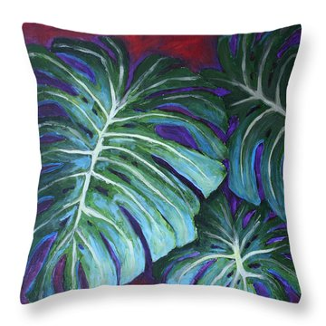 Split Leaf Philodendron Throw Pillow