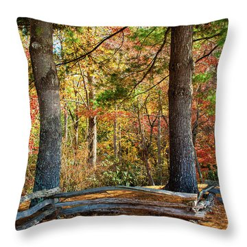 Split Rail Fence And Autumn Leaves Throw Pillow