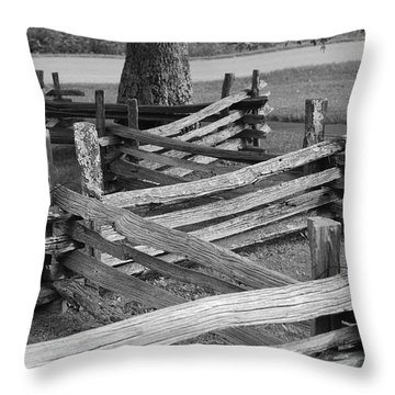 Split Rail Fence Throw Pillow by Eric Liller