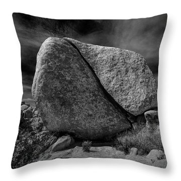 Throw Pillow featuring the photograph Split Rock In Black And White At Joshua Tree National Park by Randall Nyhof