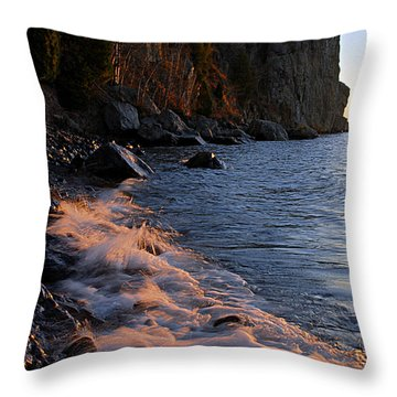 Split Rock Lighthouse At Dawn Throw Pillow