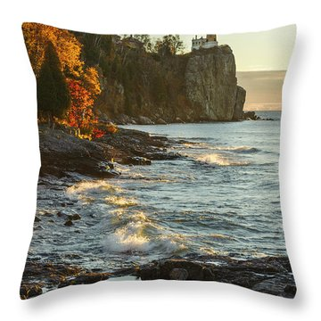 Split Rock Lighthouse At Sunrose Throw Pillow