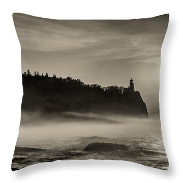 Split Rock Lighthouse Emerging Fog Throw Pillow