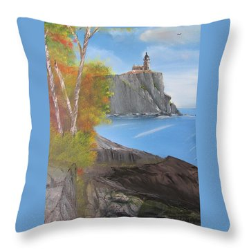 Split Rock Lighthouse Minnesota Throw Pillow by Thomas Janos