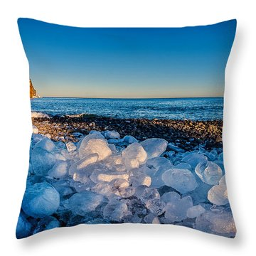 Split Rock Lighthouse With Ice Balls Throw Pillow