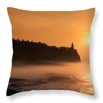 Split Rock's Morning Glow Throw Pillow