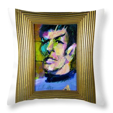 Throw Pillow featuring the painting Spock by Les Leffingwell