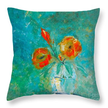 Palette Knife Floral Throw Pillow by Lisa Kaiser