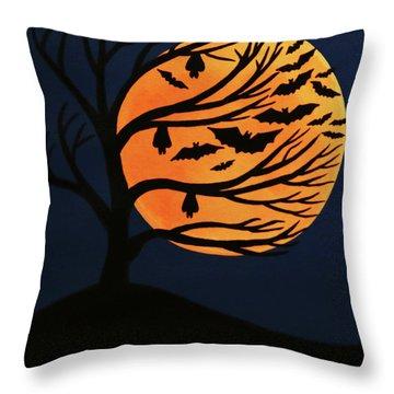 Spooky Bat Tree Throw Pillow