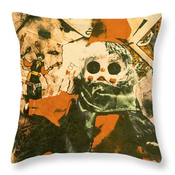 Spooky Carnival Clown Doll Throw Pillow