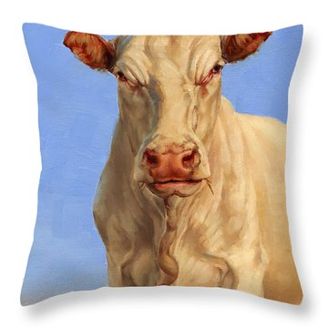 Spooky Cow Throw Pillow